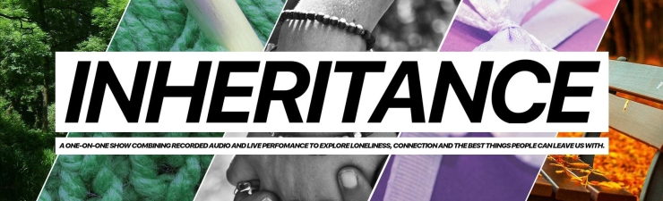 Images of trees, knitting, held hands, gifts and benches are spliced together behind the word 'Inheritance'